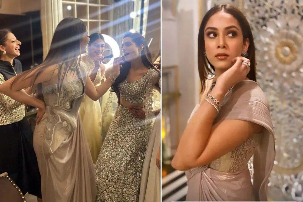 Mira Rajput Looking Ravishing in Amit Aggarwal Metallic Saree worth Rs. 78,500